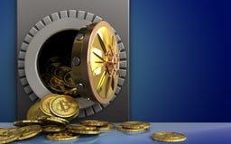 mucchio dei bitcoins 3d sopra il blu Fotografia Stock