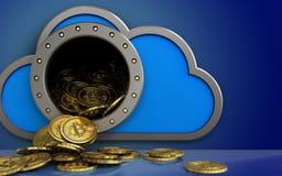 mucchio dei bitcoins 3d sopra il blu Fotografia Stock Libera da Diritti