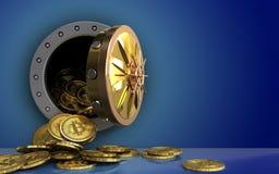 mucchio dei bitcoins 3d sopra il blu Immagine Stock Libera da Diritti
