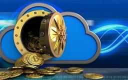 mucchio dei bitcoins 3d sopra le onde digitali Fotografie Stock