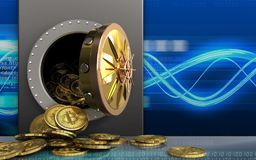 mucchio dei bitcoins 3d sopra le onde digitali Immagini Stock Libere da Diritti