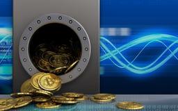 mucchio dei bitcoins 3d sopra le onde digitali Fotografia Stock Libera da Diritti