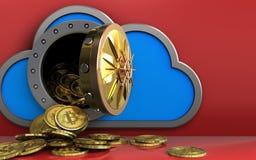 mucchio dei bitcoins 3d sopra rosso Immagine Stock Libera da Diritti