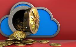mucchio dei bitcoins 3d sopra rosso Immagine Stock
