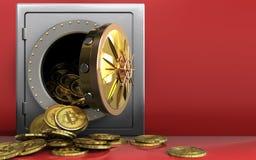mucchio dei bitcoins 3d sopra rosso Fotografie Stock