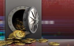 mucchio dei bitcoins 3d sopra rosso digitale Fotografie Stock Libere da Diritti