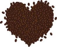 Mucchio dei chicchi di caffè sotto forma di un cuore Fotografie Stock Libere da Diritti