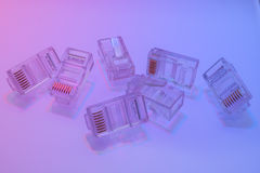 Mucchio dei connettori di Ethernet RJ45 Immagini Stock