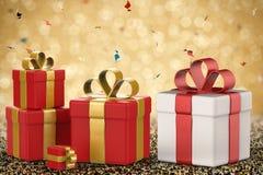 Mucchio dei contenitori di regalo Immagine Stock