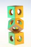 Mucchio dei cubi di legno Immagini Stock