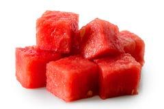Mucchio dei cubi senza semi dell'anguria isolati su bianco fotografia stock libera da diritti