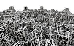 Mucchio dei dadi di codice di QR Fotografie Stock Libere da Diritti