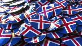 Mucchio dei distintivi che caratterizzano le bandiere dell'Islanda rappresentazione 3d Fotografia Stock Libera da Diritti