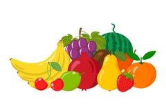 Mucchio dei frutti naturali isolato su fondo bianco Fumetto e stile piano Illustrazione di vettore Immagini Stock