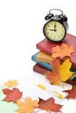 Mucchio dei libri e dei fogli di autunno Fotografie Stock