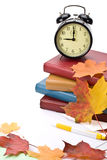 Mucchio dei libri e dei fogli di autunno Immagine Stock
