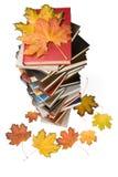 Mucchio dei libri e dei fogli di autunno Fotografie Stock Libere da Diritti