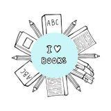 Mucchio dei libri e della tazza di tè o del caffè con i simboli del cuore Amo leggere il concetto per le biblioteche, depositi di illustrazione di stock
