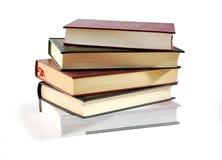 Mucchio dei libri isolati sopra bianco con PA di residuo della potatura meccanica Immagini Stock Libere da Diritti