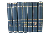Mucchio dei libri isolati su priorità bassa bianca Fotografie Stock Libere da Diritti