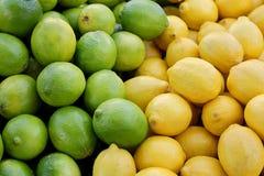 Mucchio dei limoni gialli freschi e delle limette verdi al mercato dell'agricoltore Immagini Stock