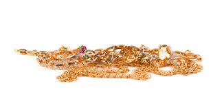 Mucchio dei monili dell'oro Immagini Stock