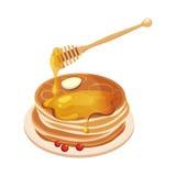 Mucchio dei pancake con Honey Dipper Cartoon Illustration royalty illustrazione gratis