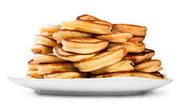 Mucchio dei pancake su un piatto bianco Fotografia Stock Libera da Diritti