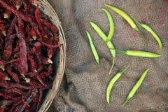 Mucchio dei peperoncini rossi e verdi secchi Fotografia Stock