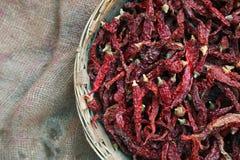 Mucchio dei peperoncini rossi secchi Fotografia Stock