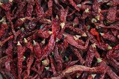 Mucchio dei peperoncini rossi secchi Fotografie Stock