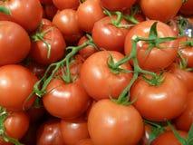 Mucchio dei pomodori rossi rotondi freschi Fotografie Stock