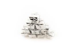 Mucchio dei presente d'argento Fotografia Stock