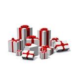 Mucchio dei presente di colore rosso e bianchi Fotografia Stock Libera da Diritti