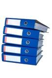 Mucchio dei raccoglitori di anello blu. Fotografia Stock