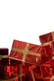 Mucchio dei regali di Natale su priorità bassa bianca Immagine Stock Libera da Diritti