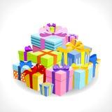 Mucchio dei regali variopinti Immagine Stock