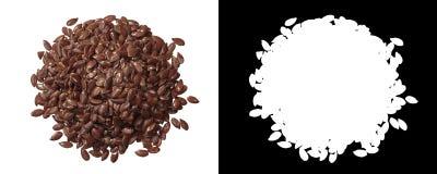 Mucchio dei semi di lino, cima, percorsi fotografia stock