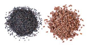 Mucchio dei semi di lino e del sesamo Fotografie Stock Libere da Diritti