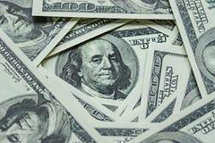 Mucchio dei soldi $100 fatture del dollaro Fotografie Stock Libere da Diritti