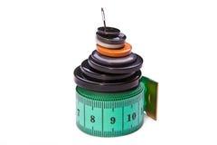 Mucchio dei tasti e del centimetro Fotografia Stock Libera da Diritti