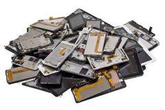 Mucchio dei telephons rotti isolati Immagine Stock Libera da Diritti