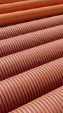 Mucchio dei tubi costolati della plastica Fotografie Stock Libere da Diritti