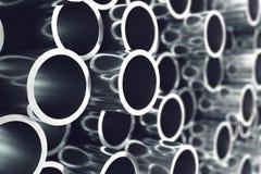Mucchio dei tubi d'acciaio del metallo brillante con effetto di fuoco selettivo illustrazione 3D illustrazione di stock
