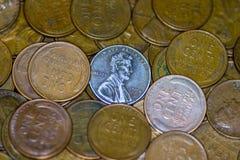 Mucchio del colpo di macro delle monete di rame Fotografia Stock