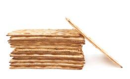 Mucchio del flatbread fatto a macchina di matza Fotografie Stock