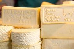 Mucchio del formaggio del Perù sul mercato del formaggio di Cusco Fotografie Stock Libere da Diritti