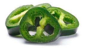 Mucchio del jalapeno verde affettato, percorsi Fotografia Stock Libera da Diritti