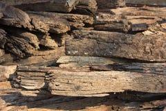 Mucchio del legno della traversina della pista Fotografie Stock