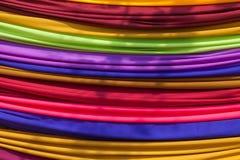 Mucchio del panno del tessuto dei colori differenti fotografia stock